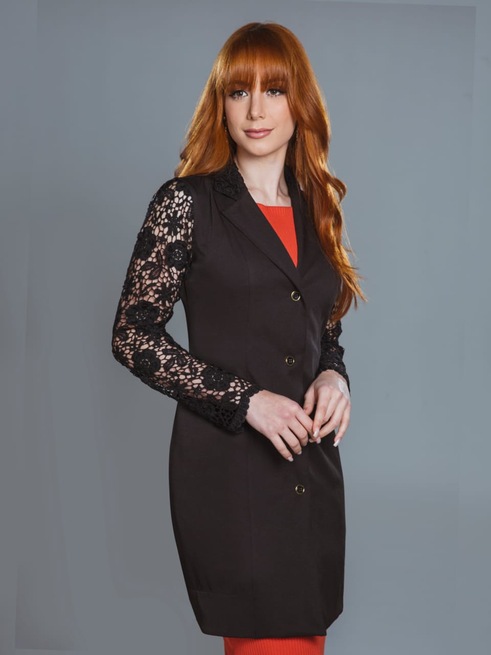 Jaleco Feminino com Renda  Ônix
