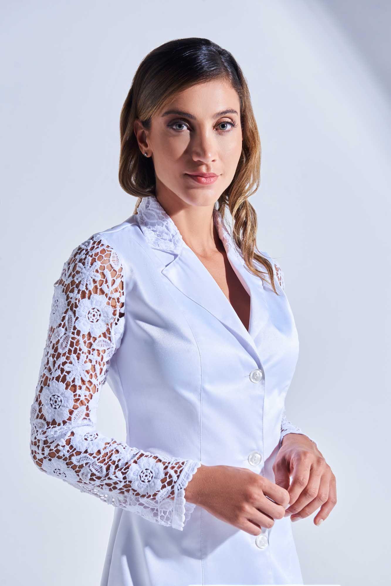 Jaleco Feminino com Renda Zely Floral