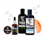Conjunto Amor de Barba ❤ Shampoo, Balm, Óleo, Cera e Pente p/ Barba Escura