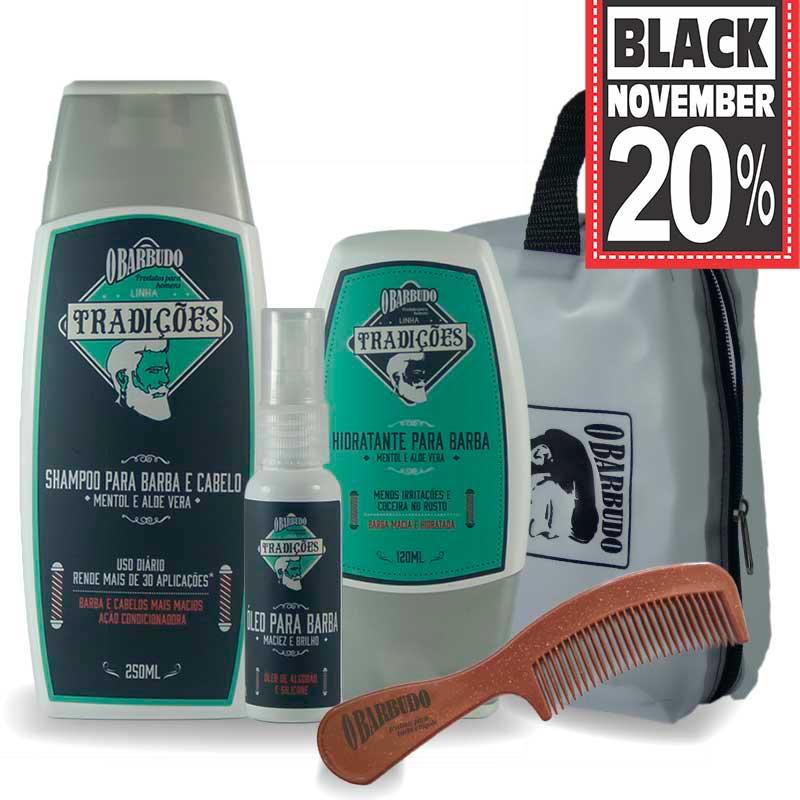 Kit Tradições | Shampoo barba e cabelo 250ml + Hidratante + Óleo + Necessaire + Pente Eco