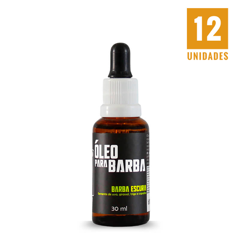 Óleo para barba escura  30ml - 12 unidades