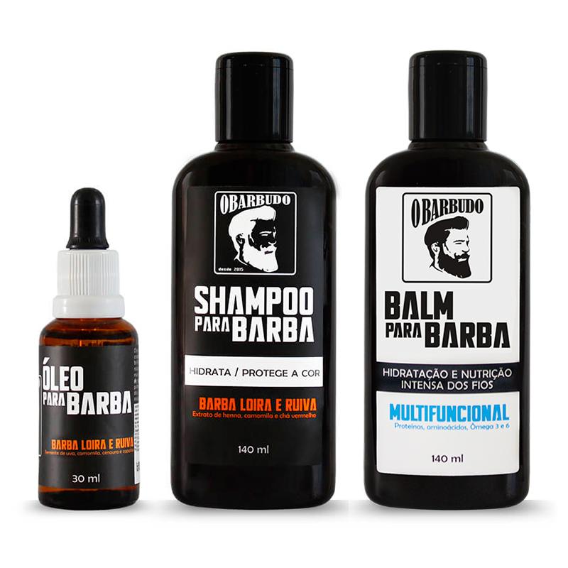Trio Barba Loira e Ruiva   Shampoo + Balm + Óleo