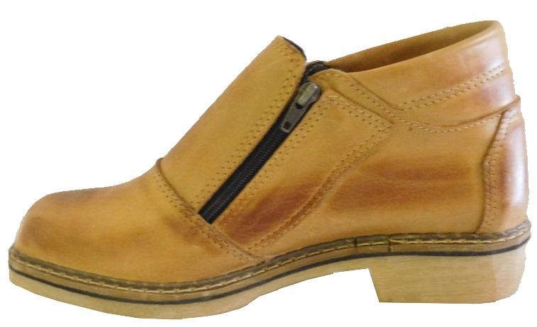 Sapato Tipo Bota De Couro Legitimo Com Ziper Lateral Terra Negocio