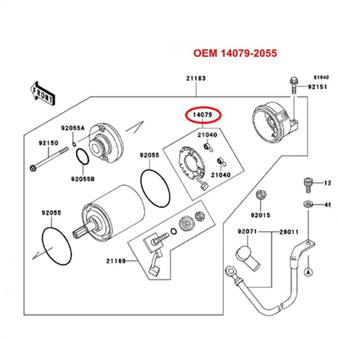 Escova de Arranque NINJA ZX9 1994 a 2003 - OEM 14079-2055