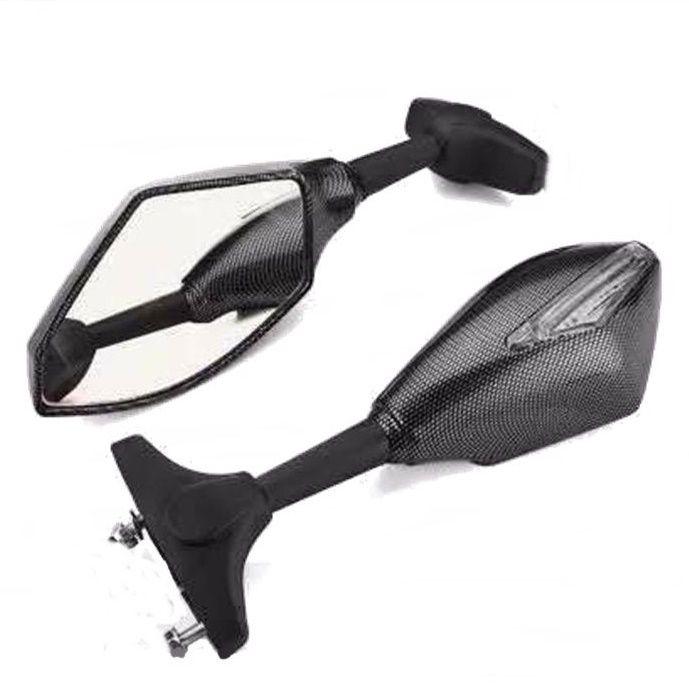 Espelho Retrovisor Motos Carenadas com Pisca Led - Tipo Fibra de Carbono