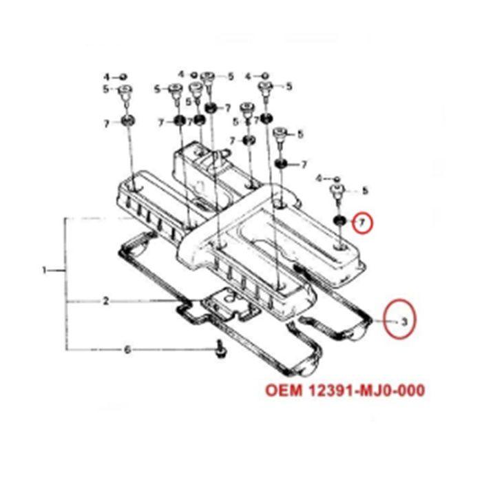 Guarnição Tampa Cabeçote - CBX750 com Coxim - 12391-MJ0-000