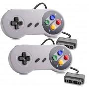 2 Controle Para Super Nintendo Joystick Snes Botão Colorido
