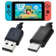 Cabo Carregador Usb P/ Nintendo Switch Usb Type C 3.1 Preto