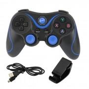 Controle Sem Fio + Suporte Para Celular Android iOS PC PS3 Preto+Azul