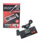 Controle Sem Fio Turbo Classic Mini Nintendo Nes Snes Wii Preto