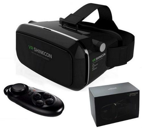 Oculos Realidade Virtual 3d Vr Shinecon 2.0 Preto + Controle