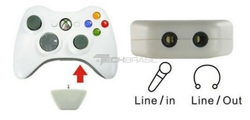 Adaptador Conversor Fone Ouvido E Mic Controle Xbox 360 Branco