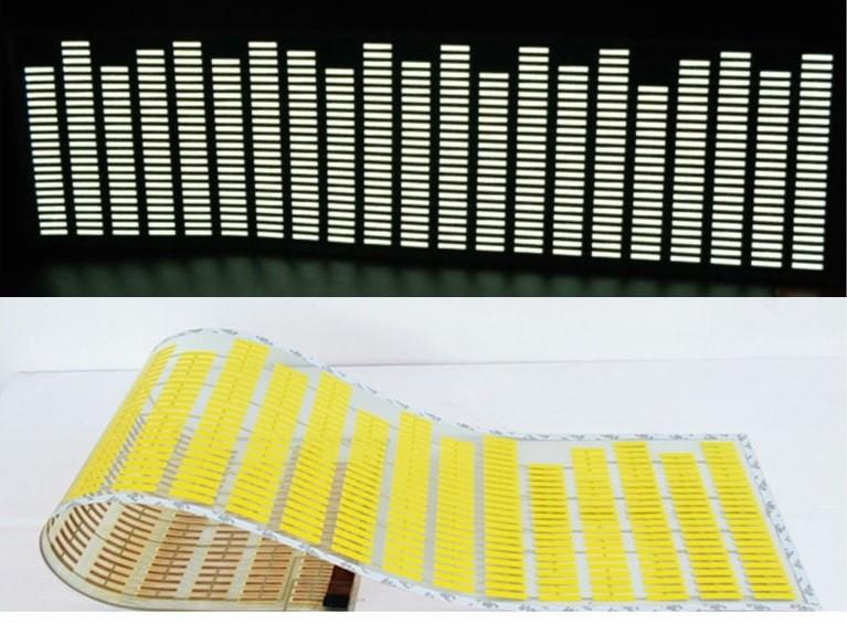 Adesivo Equalizador 12v 45x11cm Painel Led Carro Amarelo