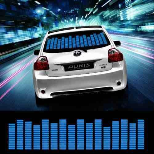 Adesivo Equalizador 12v 90x25cm Painel Led Carro Azul