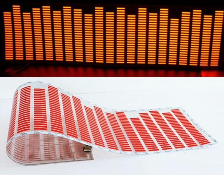 Adesivo Equalizador 12v 45x11cm Painel Led Carro Vermelho