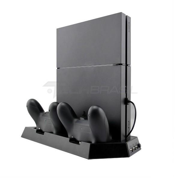 Base Suporte Cooler Carregador 3 USB PlayStation 4 Slim Fat