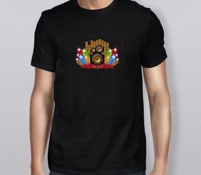 Camiseta LED Eletrônica Camisa Luminosa 15 - Som e Estrelas