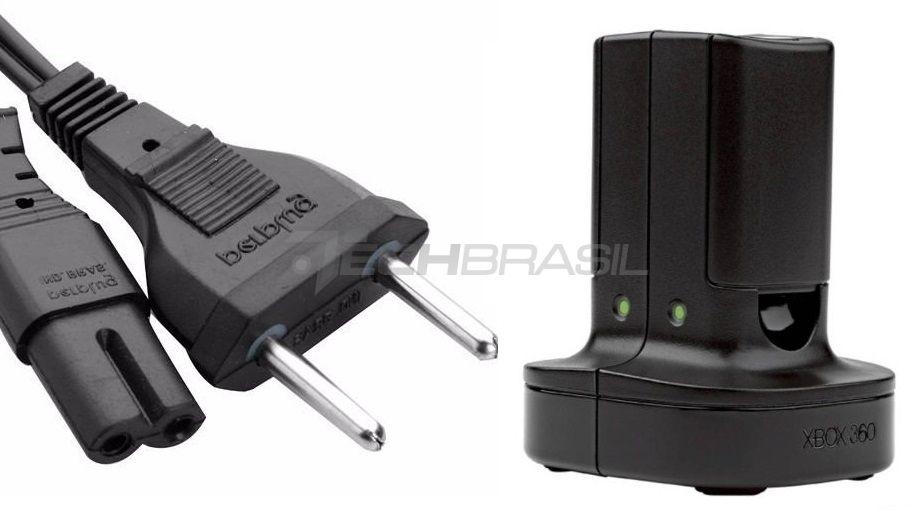 Carregador Duplo + 2 Baterias Xbox 360 Original Bivolt Preta