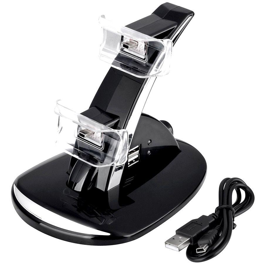 Carregador Duplo P/ 2 Controle PlayStation 3 PS3 Base Preto
