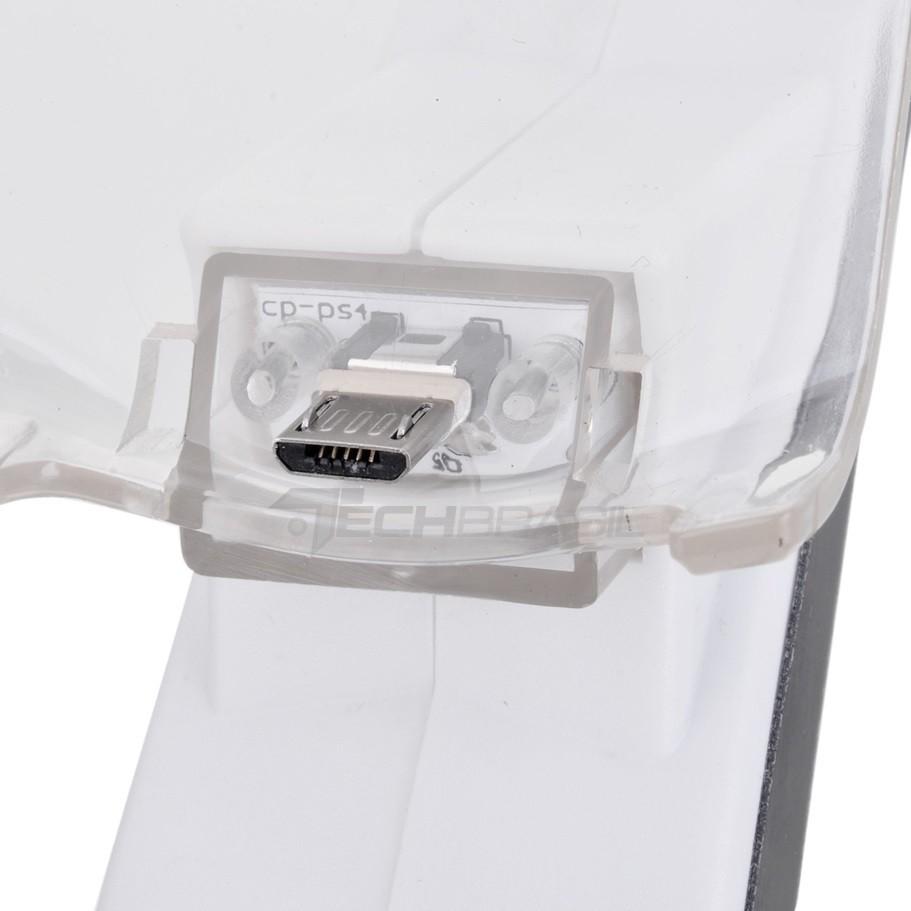 Carregador Duplo P/ 2 Controle PlayStation 4 PS4 Base Branco