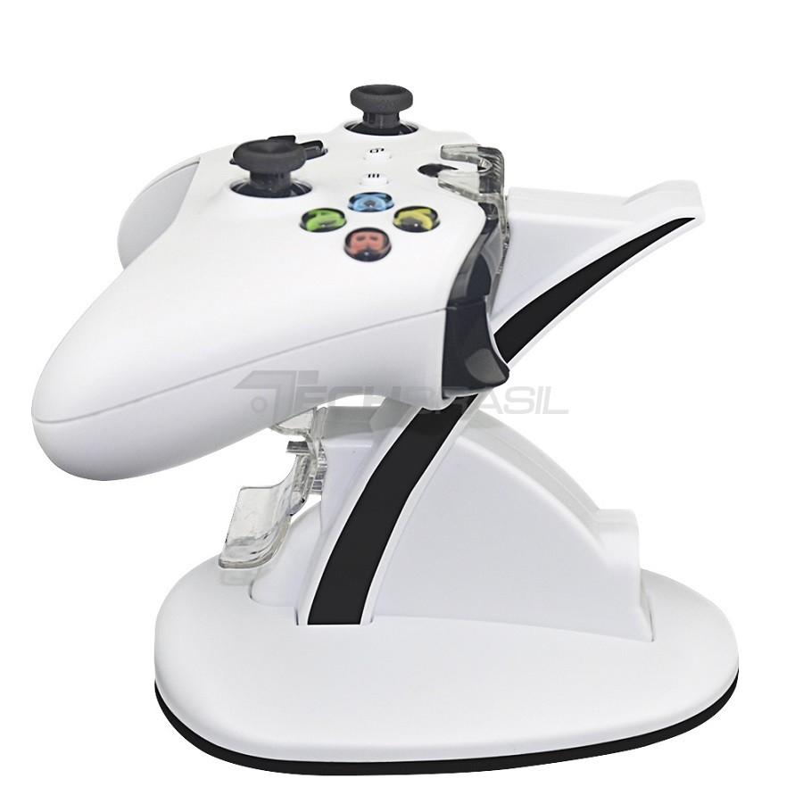 Carregador Duplo P/ 2 Controle Xbox One Base Suporte Branco
