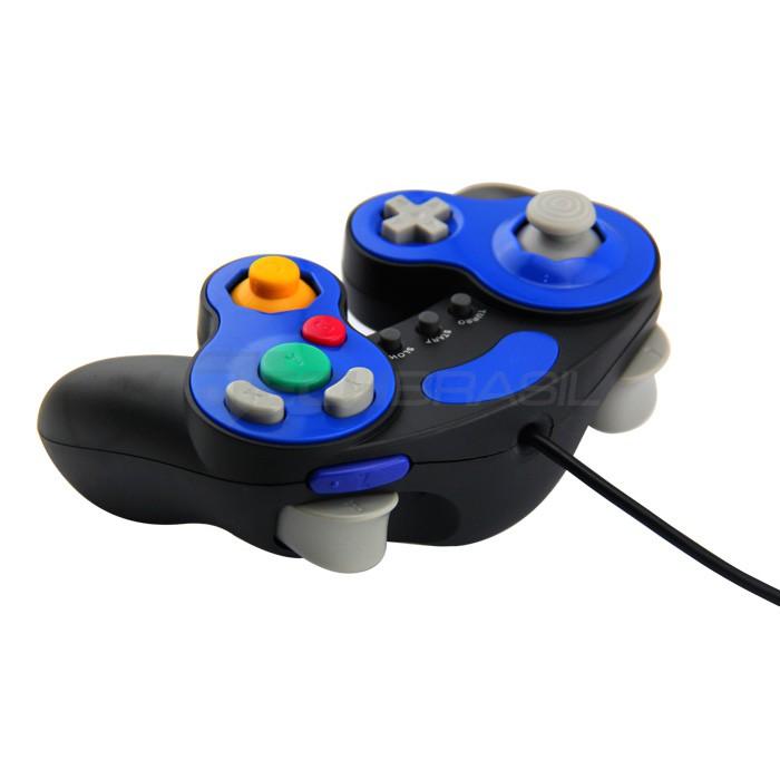 Controle Clássico Game Cube Turbo Nintendo Wii Preto + Azul