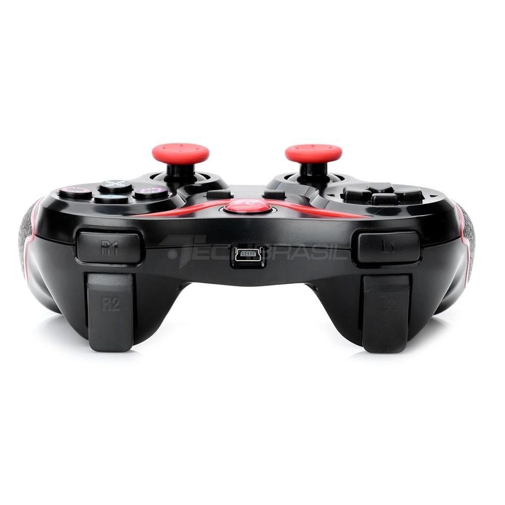 Controle Sem Fio Playstation 3 Dualshock Bluetooth Joystick Preto Com Vermelho