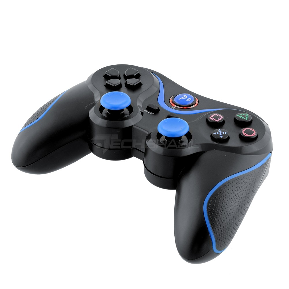 Controle Sem Fio Playstation 3 Dualshock Joystick Bluetooth Preto Com Azul