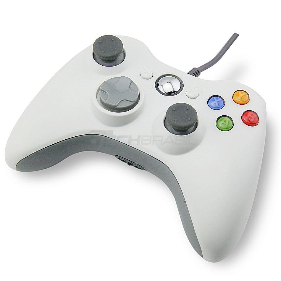 Controle Usb Com Fio Para Xbox 360 Computador Notebook Branco