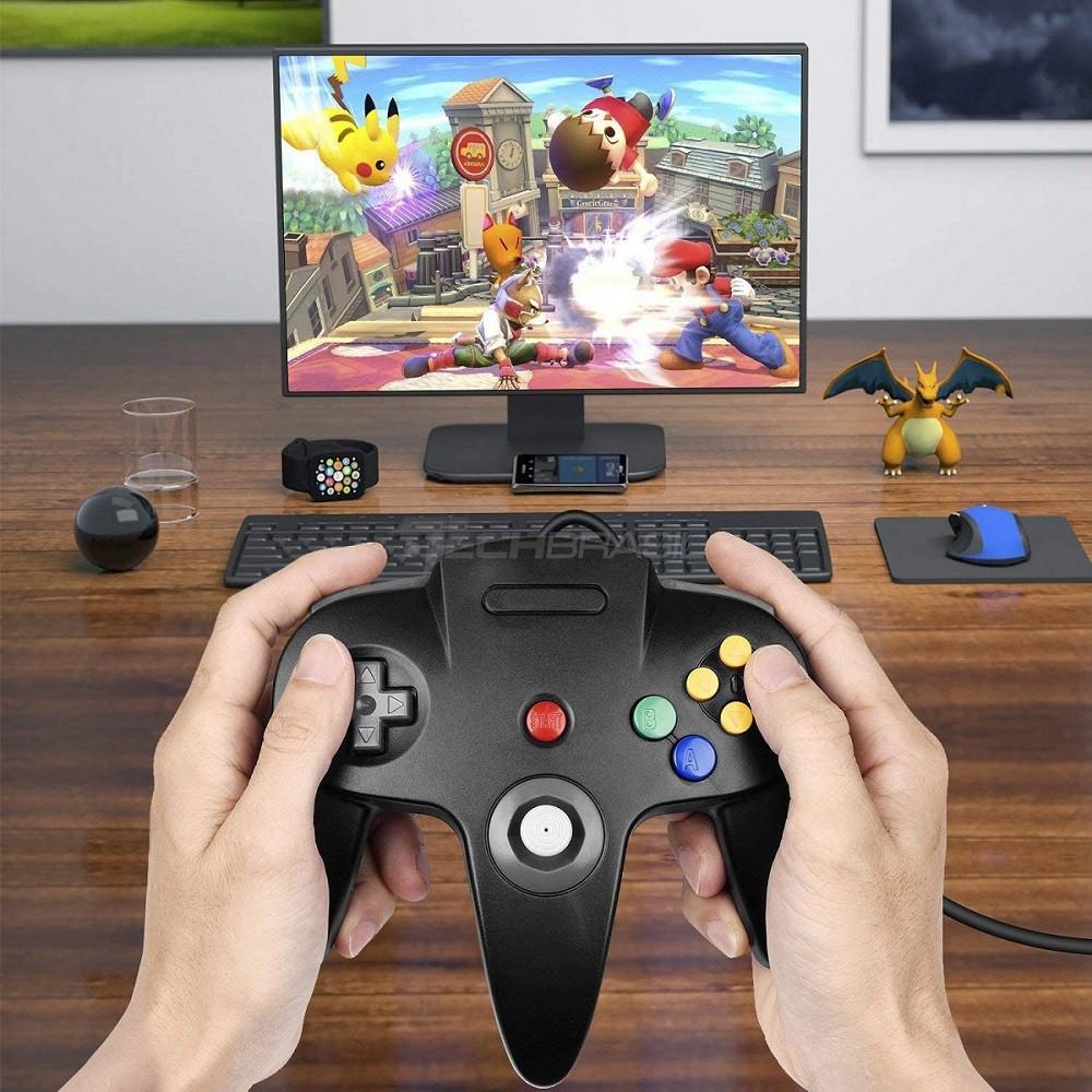 Controle USB Nintendo 64 Joystick Para Computador Mac Preto