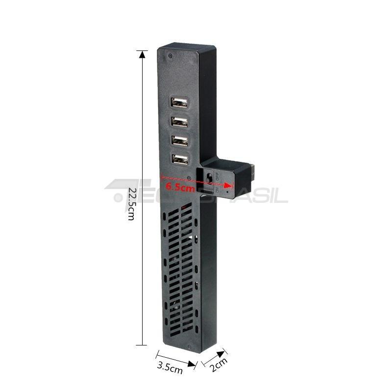 Cooler Hub USB Xbox One 4 Portas Carregador Ventilador Preto