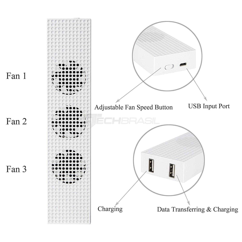 Cooler Hub Usb Xbox One Slim Exautor De Calor Refrigeração