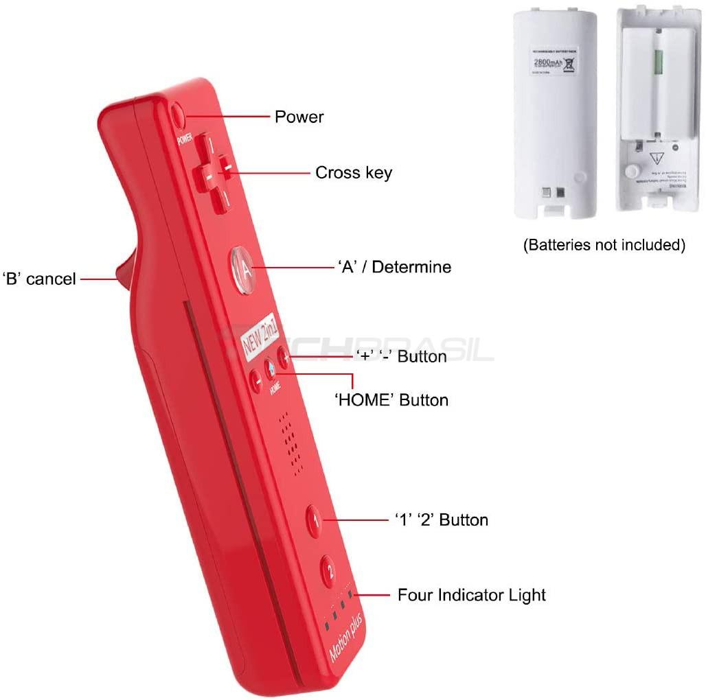 Controle Wii Remote Motion Plus Nintendo Wii Vermelho Wii U