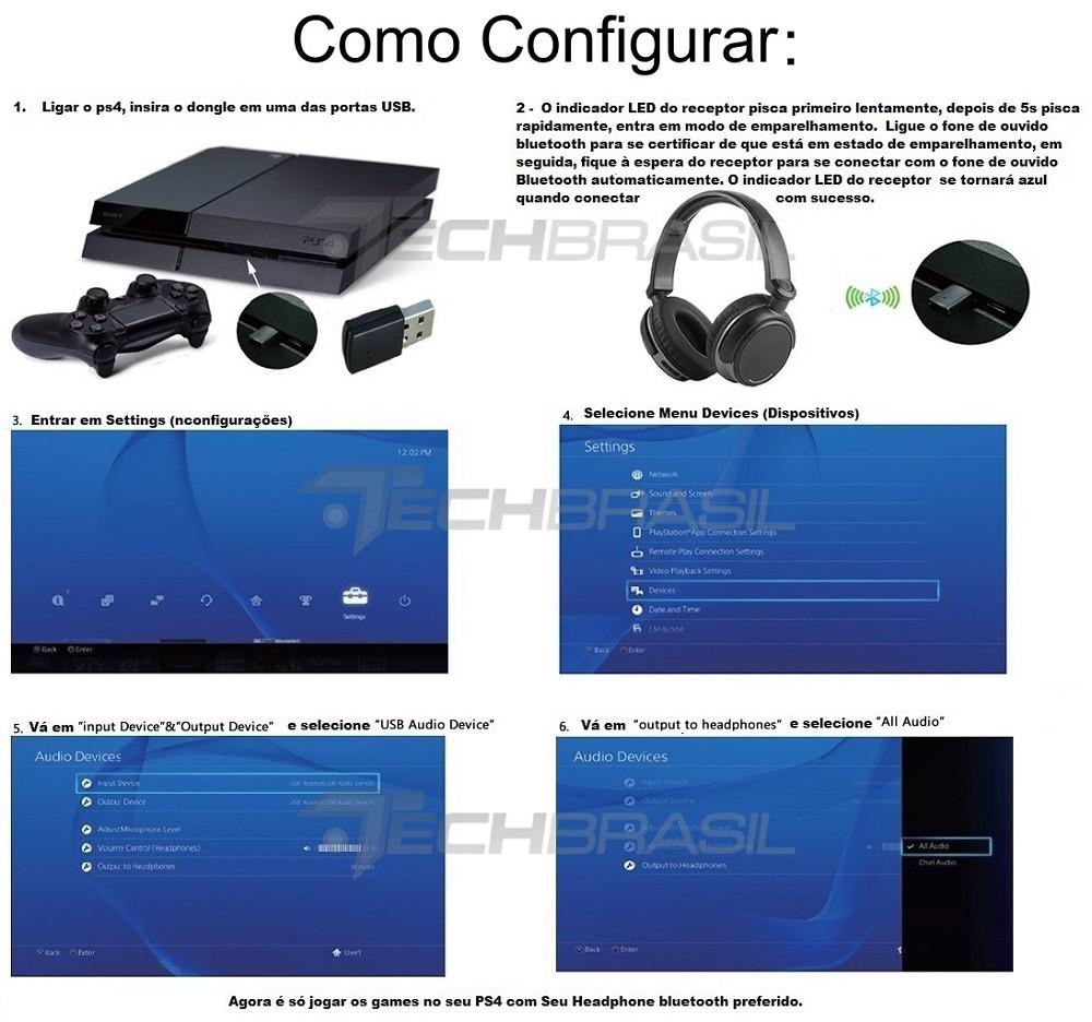 Transmissor Bluetooth Ps4 P/ Qualquer Fone Ouvido Adaptador