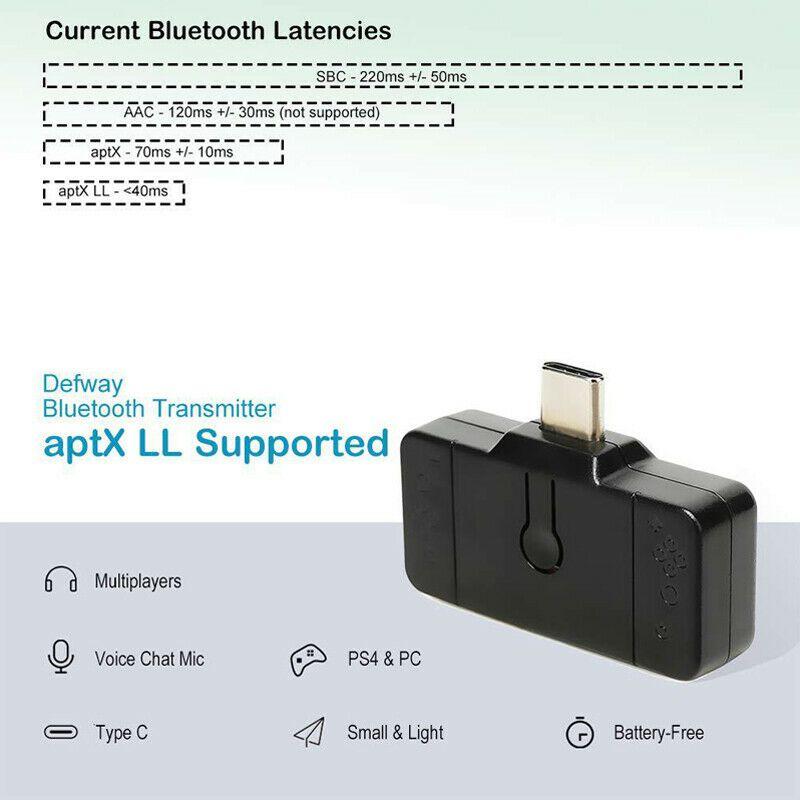 Transmissor De Áudio Bluetooth Switch PS4 PC Adaptador USB