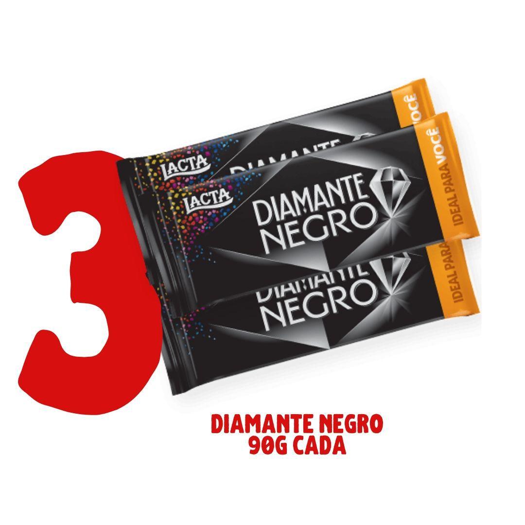 3 barras de chocolate DIAMANTE NEGRO  90g