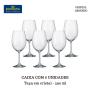 Caixa com 48 taças de vinho em cristal genuíno Bohemia