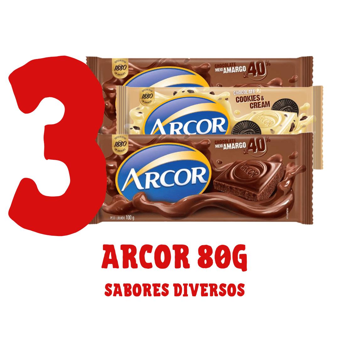 Kit - 3 barras de chocolate Arcor