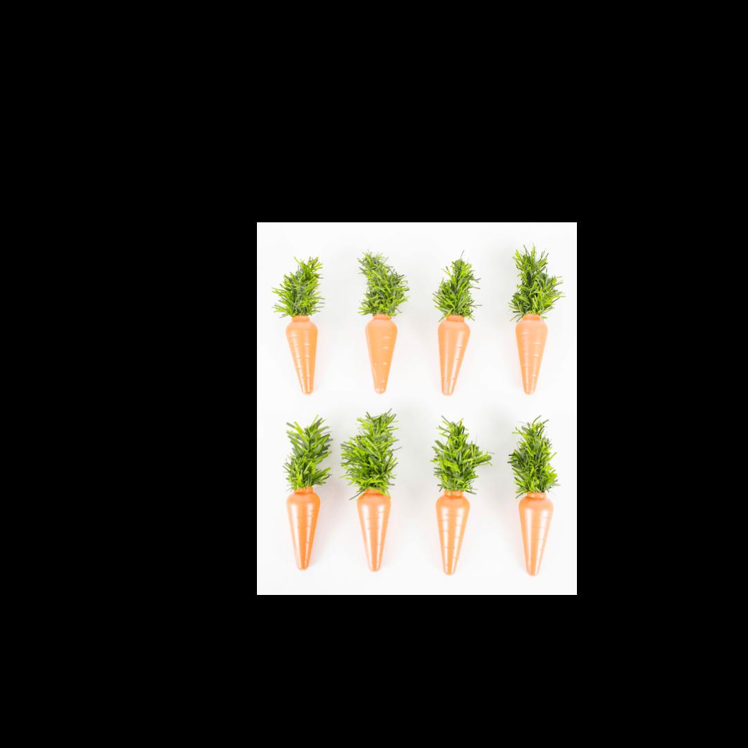 Kit 8 Cenouras de Plástico Para Decoração