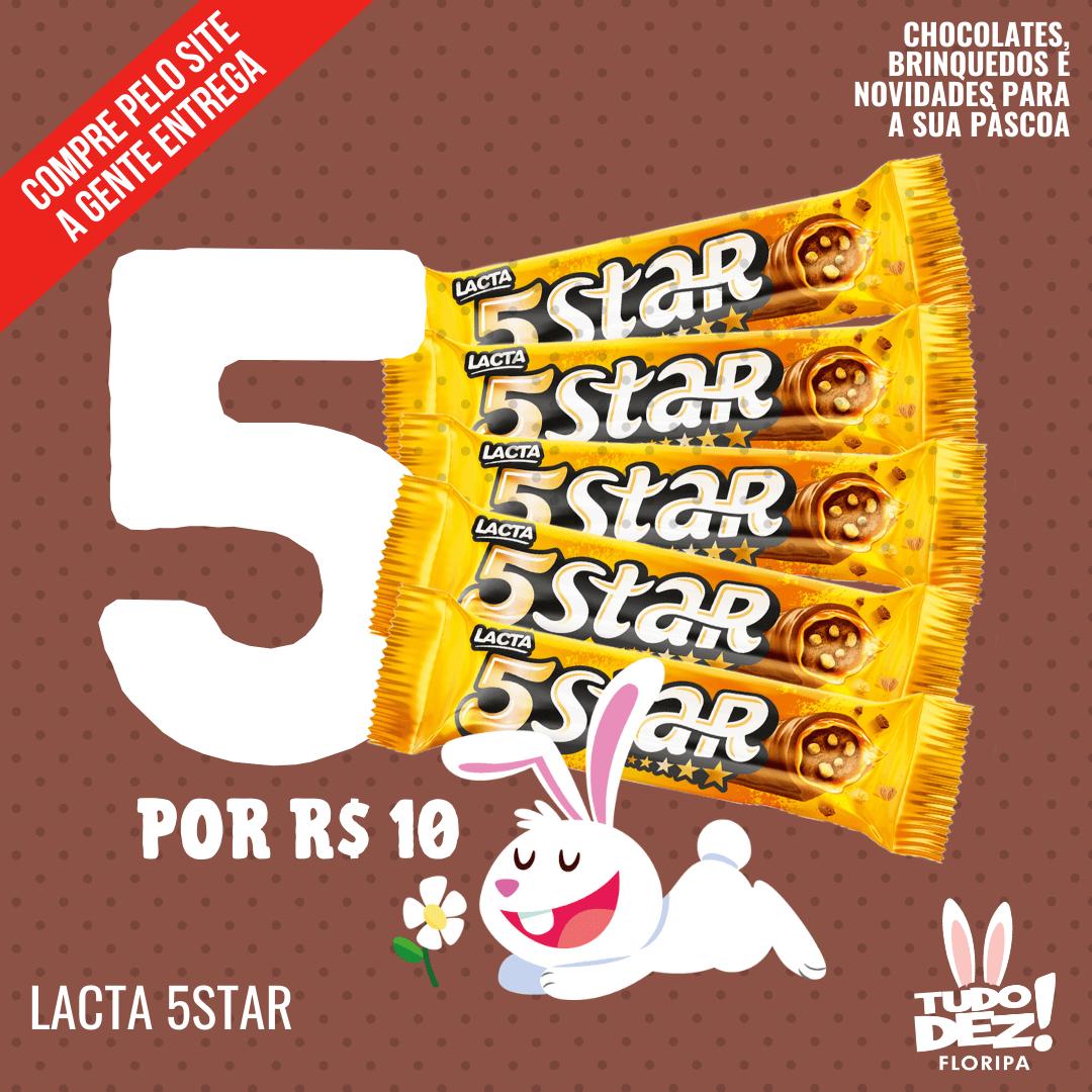 Kit com 5 chocolates 5Star Lacta