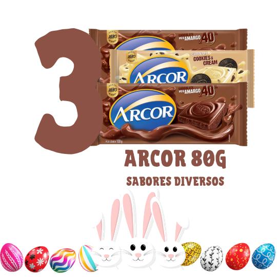 Kit Páscoa - 3 barras de chocolate Arcor