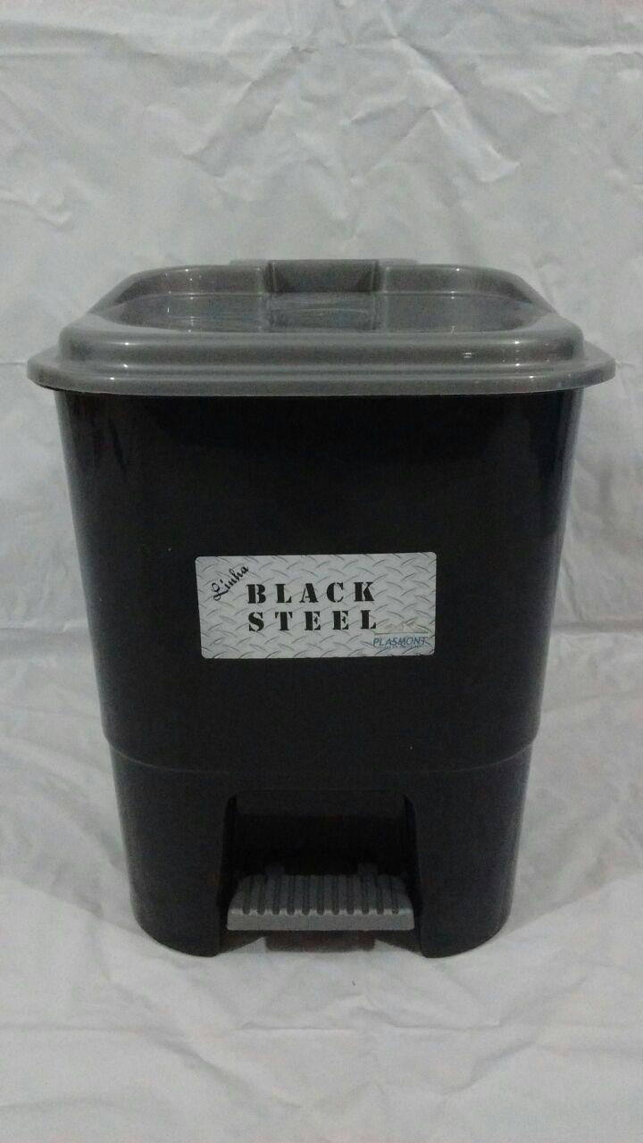 LIXEIRA PEDAL 7L BLACK STEEL