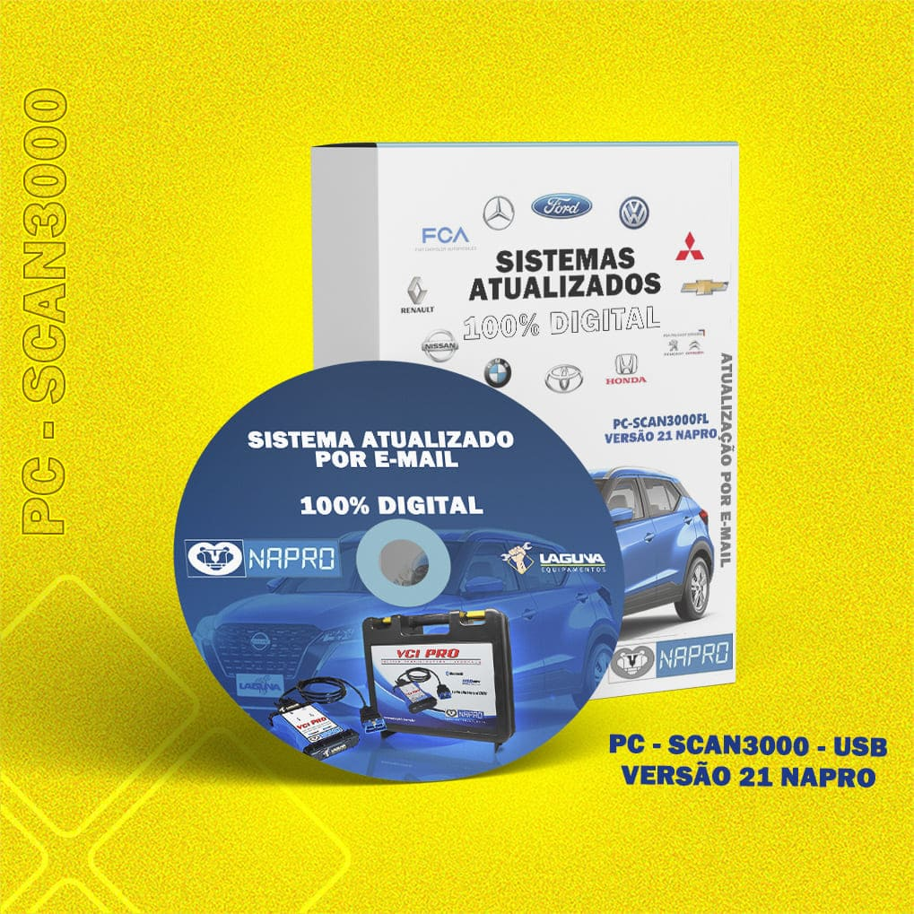Atualização 21 Scanner Automotivo PC-SCAN3000 USB versão 1 até 13 NAPRO