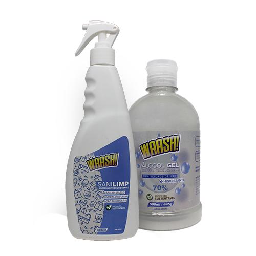 KIT Detergente SANILIMP WAASH Prevenção contra VÍRUS  Frasco 500 ML + Álcool em Gel WAASH 500 ML
