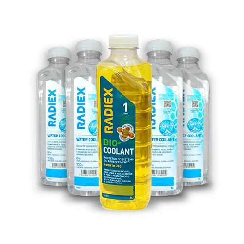Pack 1 Bio Coolant Amarelo Superconcentrado 1L  R1883 + 5 Águas Desmineralizada 1L A902 - RADIEX