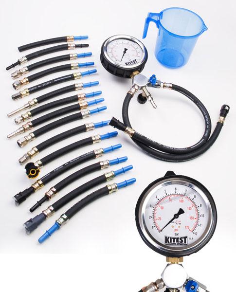 Teste de Pressão de Bomba de Combustível com Manômetro de Aço Inox, Glicerina e 17 Mangueiras KITEST