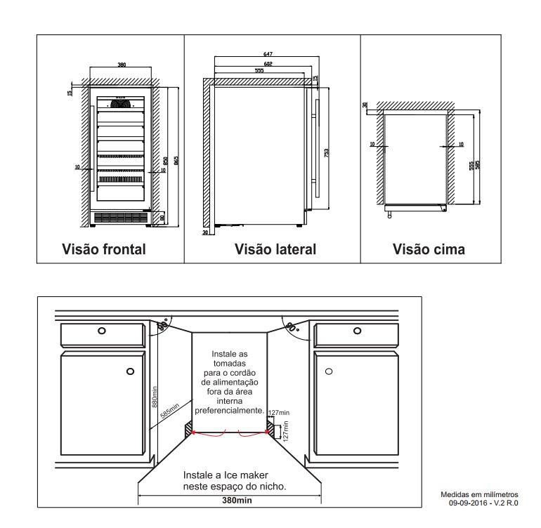 Adega de Embutir 1 Zone Digital 34 Garrafas Elettromec