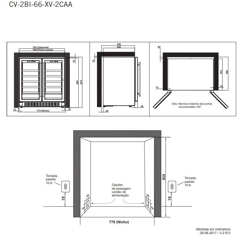 Adega 56 Garrafas Dual Zone Built-in Elettromec