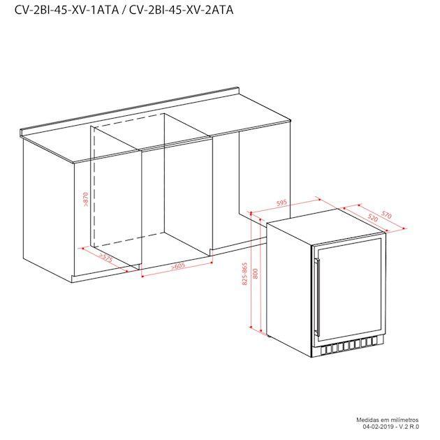 Adega Dual Zone Built In 45 Garrafas Elettromec