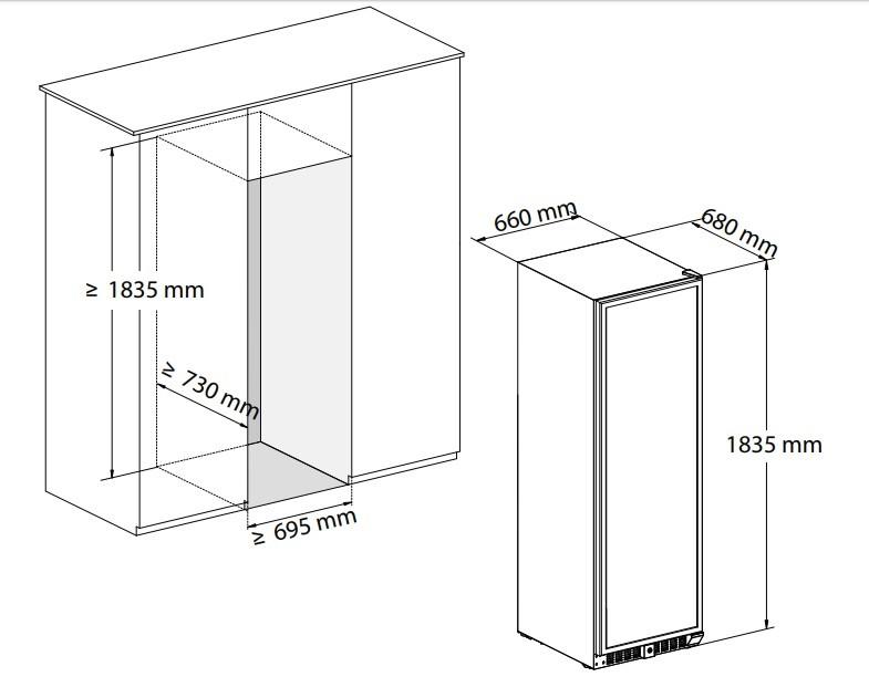Adega Vetro 181 Garrafas Dual Zone Built-In Elettromec